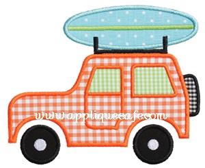 Beach Jeep Applique Design