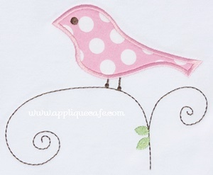 Bird on Vine Applique Design