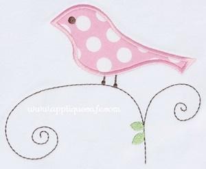 Bird on Vine Applique Design