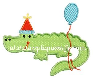 Birthday Alligator Applique Design