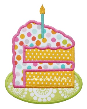 Birthday Cake 3 Applique Design