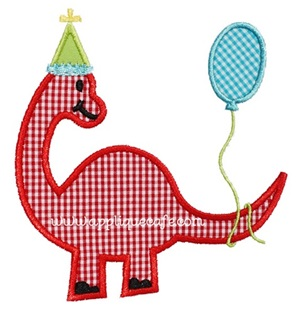 Birthday Dinosaur Applique Design