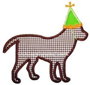 Birthday Dog Applique Design