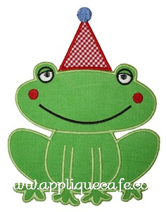 Birthday Frog Applique Design