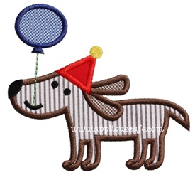 Birthday Dog 3 Applique Design
