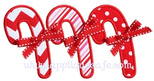 Candy Cane Trio Applique Design