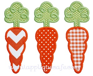 Loopy Carrot Trio Applique Design