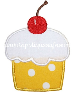 Cherry Cupcake Applique Design