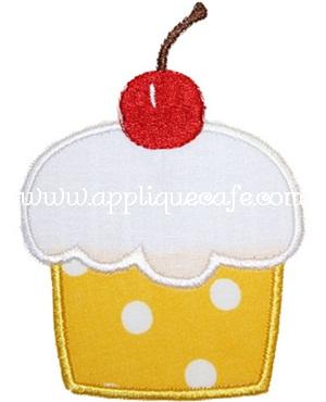 Cherry Cupcake Applique Design