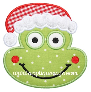 Christmas Frog Applique Design