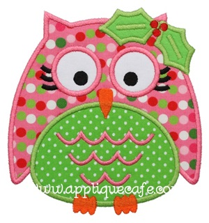 Christmas Owl 3 Applique Design