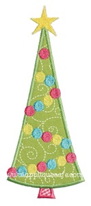 Christmas Tree Dots Applique Design