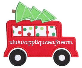 Christmas Wagon Applique Design