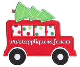 Christmas Wagon Applique Design