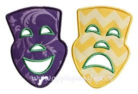 Comedy Tragedy Masks Applique Design