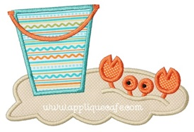 Crab and Bucket Applique Design