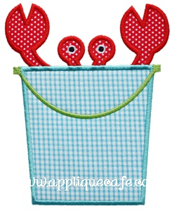 Crab Bucket Applique Design