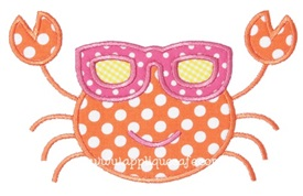 Crab with Sunglasses Applique Design