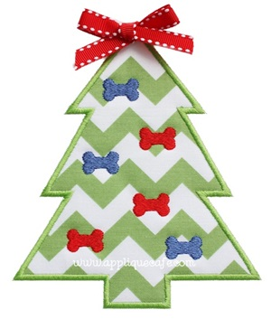 Dog Christmas Tree Applique Design