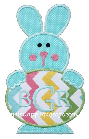 Easter Egg Bunny Applique Design
