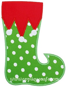 Elf Stocking Applique Design