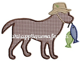 #606 Fishing Dog Applique Design