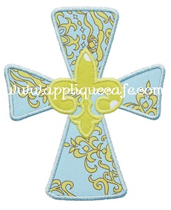 Fleur-de-lis Cross Applique Design