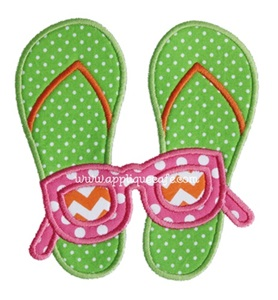 Flip Flop Sunglasses Applique Design