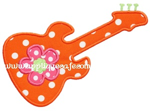 #512 Flower Guitar Applique Design