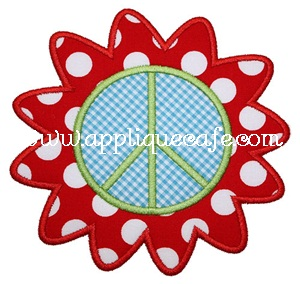 Flower Peace Sign Applique Design