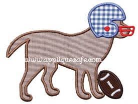 Football Dog 2 Applique Design