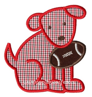 #881 Football Dog 3 Applique Design