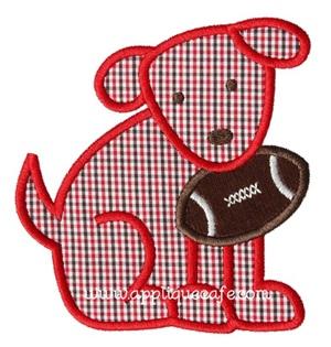 Football Dog 3 Applique Design