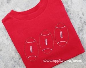 Football Trio Embroidery Design