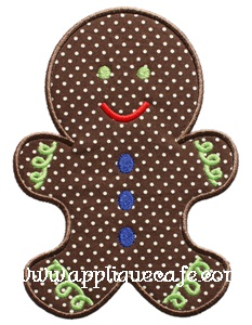 Gingerbread Man 2 Applique Design