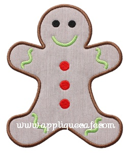 Gingerbread Man Applique Design