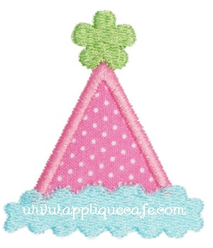 Girl Add on Birthday Hat Applique Design