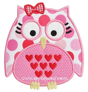 Girl Valentine Owl Applique Design