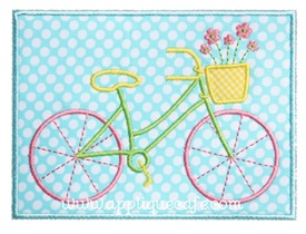Girly Bicycle Patch Applique Design