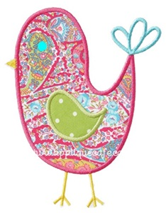 Girly Bird Applique Design