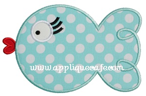 Girly Fish Applique Design