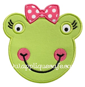 Girly Frog Face Applique Design