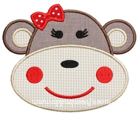 Girly Monkey Applique Design