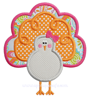 Girly Turkey Applique Design