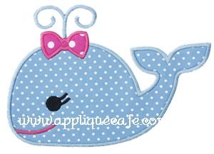 Girly Whale Applique Design