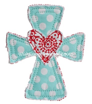 Heart Cross Applique Design