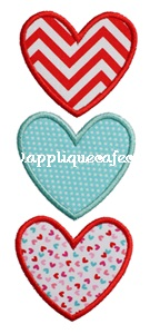 Heart Trio 2 Applique Design