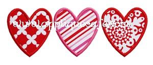 Heart Trio Applique Design