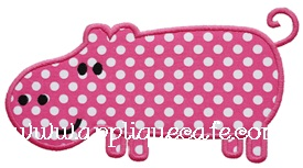 Hippo 2 Applique Design