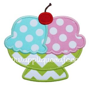 Ice Cream Bowl Applique Design